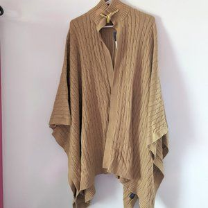 American Living cable knit open front poncho, NWT